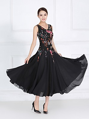 cheap Evening Dresses-Ballroom Dance Dress Pattern / Print Split Joint Women's Training Performance Sleeveless Natural Lace Imitation Silk