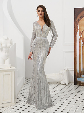 cheap Evening Dresses-Mermaid / Trumpet Sparkle White Engagement Formal Evening Dress V Neck Long Sleeve Floor Length Sequined with Sequin Tassel 2020