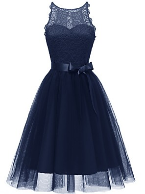 cheap Prom Dresses-A-Line Jewel Neck Knee Length Tulle Bridesmaid Dress with Bow(s)