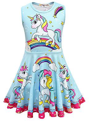 baratos Vestidos De Unicórnio-Infantil Para Meninas Doce Estilo bonito Unicorn Galáxia Desenho Animado Sem Manga Altura dos Joelhos Vestido Rosa