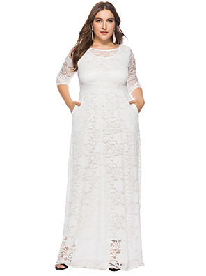 cheap Evening Dresses-Sheath / Column Plus Size White Holiday Wedding Guest Dress Jewel Neck Half Sleeve Floor Length Lace with Lace Insert 2020