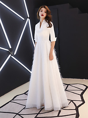 cheap Evening Dresses-A-Line Elegant White Prom Formal Evening Dress V Neck Half Sleeve Floor Length Satin Stretch Satin with Tassel 2020