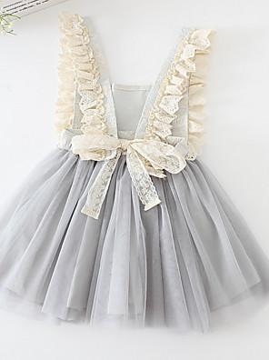 cheap Girls' Dresses-Kids Girls' Geometric Dress Gray