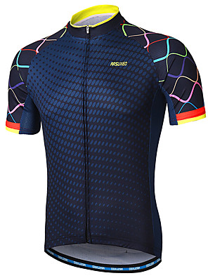 cheap Smart Watches-Arsuxeo Men's Short Sleeve Cycling Jersey Polyester Navy Purple Yellow Gradient Bike Jersey Mountain Bike MTB Road Bike Cycling Reflective Strips Sweat-wicking Sports Clothing Apparel