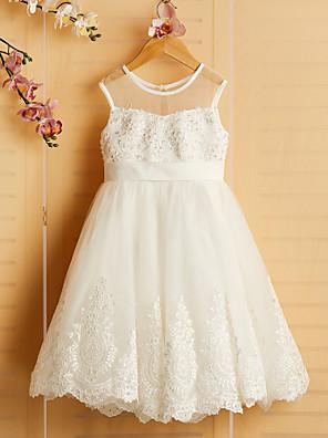 cheap Flower Girl Dresses-Princess Tea Length Wedding / Birthday / Pageant Flower Girl Dresses - Satin / Tulle Sleeveless Jewel Neck with Bows / Belt / Beading
