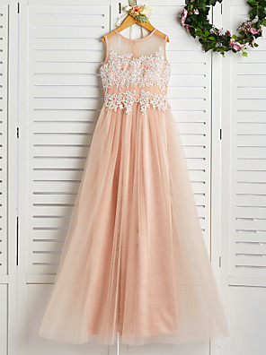 cheap Bridesmaid Dresses-A-Line Jewel Neck Sweep / Brush Train Lace / Tulle Junior Bridesmaid Dress with Appliques