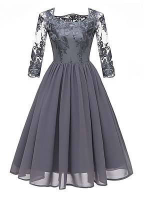 cheap Prom Dresses-Women's A Line Dress - 3/4 Length Sleeve Floral Lace Square Neck Wine Blue Gray S M L XL XXL