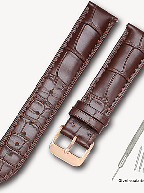 cheap Leather Watch Bands-Genuine Leather / Leather / Calf Hair Watch Band Black / Brown 17cm / 6.69 Inches / 18cm / 7 Inches / 19cm / 7.48 Inches 1.4cm / 0.55 Inches / 1.6cm / 0.6 Inches / 1.8cm / 0.7 Inches