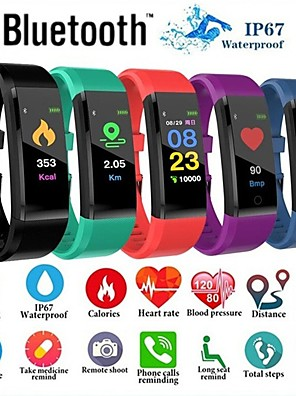 cheap Smart Watches-Smartwatch Digital Modern Style Sporty Silicone 30 m Water Resistant / Waterproof Heart Rate Monitor Bluetooth Digital Casual Outdoor - Black Purple Green