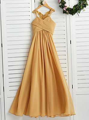 cheap Junior Bridesmaid Dresses-A-Line Halter Neck Floor Length Chiffon Junior Bridesmaid Dress with Appliques / Ruching / Wedding Party