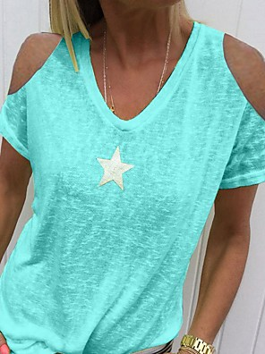 cheap Print Dresses-Women's Solid Colored T-shirt Daily Wear V Neck Blue / Blushing Pink / Light Green / Gray
