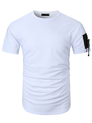 cheap Men's Pants & Shorts-Men's T-shirt Solid Colored Tops Round Neck White Black Green / Short Sleeve