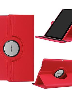billige Etuier/deksler til Huawei-Etui Til Huawei Huawei Mediapad T5 10 / Huawei MediaPad T3 10(AGS-W09, AGS-L09, AGS-L03) 360° rotasjon / Støtsikker / med stativ Heldekkende etui Ensfarget Hard PU Leather