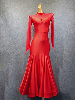 cheap Homecoming Dresses-Ballroom Dance Dress Ruching Split Joint Women's Performance Long Sleeve Spandex