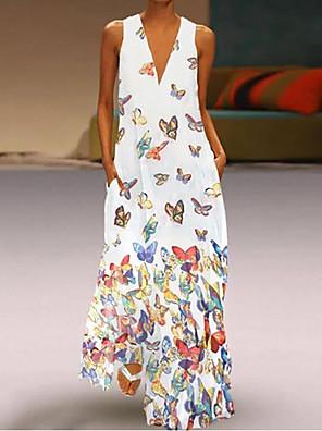 cheap Summer Dresses-Women's Plus Size Maxi Butterfly A-Line Dress Dress - Sleeveless Animal Print Summer Deep V Casual Vacation Beach 2020 White Purple Yellow Blushing Pink Light Blue S M L XL XXL XXXL XXXXL XXXXXL