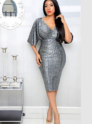 cheap Romantic Lace Dresses-Women's Bodycon Dress - Half Sleeve Solid Colored Deep V Cocktail Party Gray M L XL