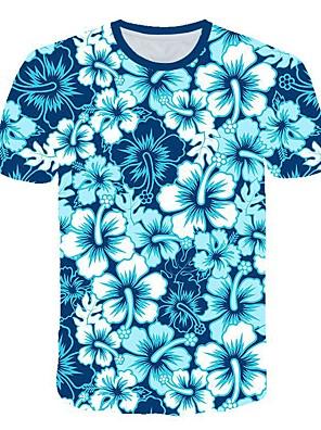cheap Evening Dresses-Men's 3D Graphic Print Slim T-shirt Daily Round Neck Blue / Short Sleeve