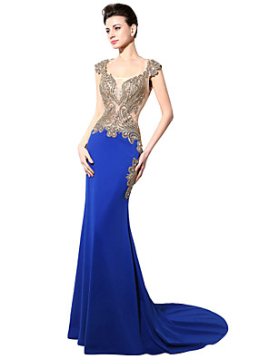 cheap Evening Dresses-Mermaid / Trumpet Gold Blue Engagement Formal Evening Dress Queen Anne Sleeveless Court Train Jersey with Crystals Beading Appliques 2020