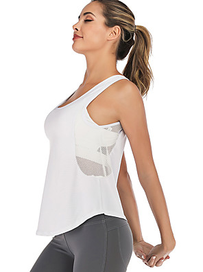 cheap Tankinis-Women's Yoga Built In Bra Tank Winter Patchwork Removable Pad Fashion Light Grey White Black Mesh Running Fitness Gym Workout Vest / Gilet Sleeveless Sport Activewear Breathable Quick Dry Soft