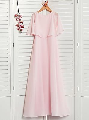 cheap Junior Bridesmaid Dresses-A-Line Jewel Neck Maxi Chiffon Junior Bridesmaid Dress with Ruffles