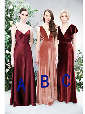 cheap Bridesmaid Dresses-A-Line Spaghetti Strap / Plunging Neck Floor Length Satin / Velvet Bridesmaid Dress with Ruching