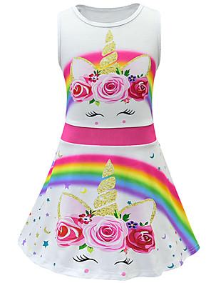 cheap Girls' Dresses-Kids Toddler Girls' Active Street chic Unicorn Floral Sleeveless Above Knee Dress White