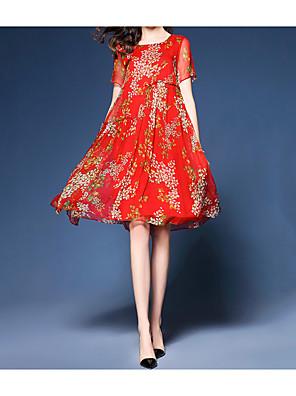 cheap Print Dresses-Women's Knee Length Dress Red Loose - Short Sleeve Floral Pleated Print Summer Boho Street chic Going out Beach Loose Red Royal Blue M L XL XXL XXXL / Silk