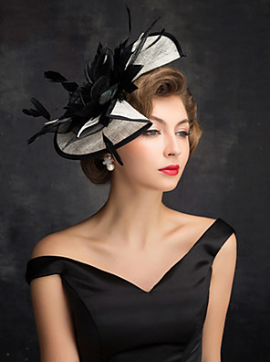 cheap Evening Dresses-Feathers / Linen / Cotton Blend Fascinators / Flowers / Headdress with Feather / Floral 1 Party / Evening / Outdoor / Horse Race Headpiece