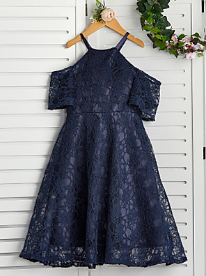 cheap Top Sellers-A-Line Halter Neck Knee Length Lace Junior Bridesmaid Dress with Lace