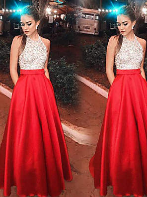 cheap Evening Dresses-A-Line Sparkle Red Prom Formal Evening Dress Halter Neck Sleeveless Floor Length Satin Sequined with Crystals Sequin 2020