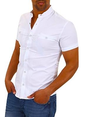 cheap Shirts-Men's Solid Colored Shirt Basic Elegant School Daily Wear White / Black