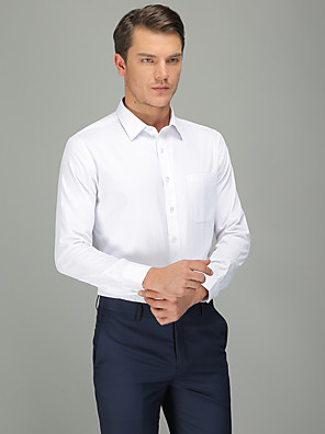 cheap Shirts-Men's Solid Colored Shirt Business Daily Wear White