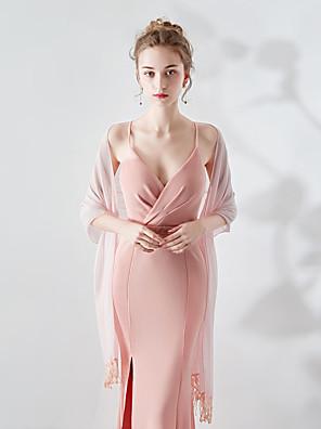 cheap Wedding Wraps-Sleeveless Shawls / Scarves Satin Chiffon Wedding / Party / Evening Women's Wrap / Women's Scarves With Embroidery / Tassel