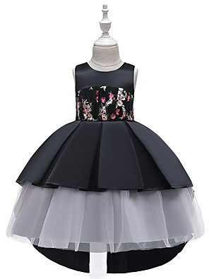cheap Girls' Dresses-Kids Toddler Girls' Active Cute Floral Color Block Plaid Lace Bow Ruched Sleeveless Knee-length Dress Black