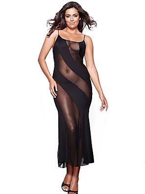 cheap Sexy Bodies-Women's Mesh Plus Size Sexy Babydoll & Slips Nightwear Patchwork Black XXXXL XXXXXL XXXXXXL