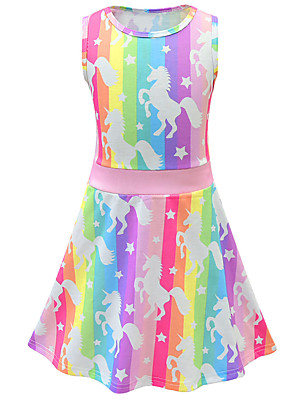 cheap Girls' Dresses-Kids Toddler Girls' Active Street chic Unicorn Cartoon Sleeveless Above Knee Dress Blushing Pink