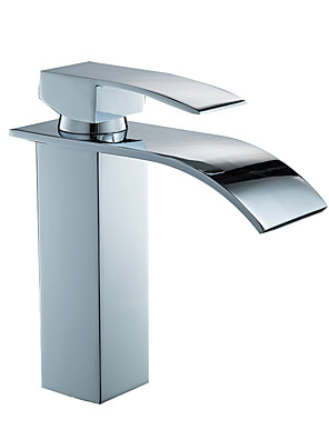 cheap Print Dresses-Bathroom Sink Faucet - Widespread Electroplated Centerset Single Handle One HoleBath Taps