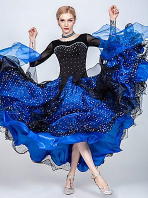 cheap Ballroom Dancewear-Ballroom Dance Dress Split Joint Crystals / Rhinestones Paillette Women's Training Performance 3/4-Length Sleeve Tulle Ice Silk