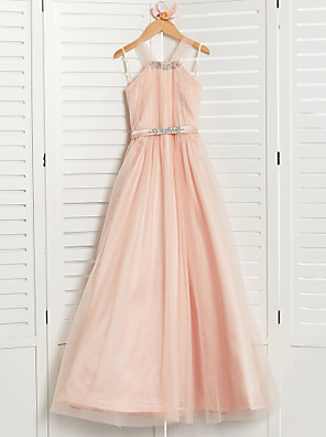 cheap Junior Bridesmaid Dresses-A-Line Halter Neck Maxi Tulle Junior Bridesmaid Dress with Beading / Sash / Ribbon / Wedding Party