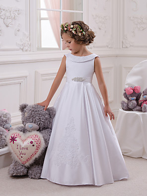 cheap Evening Dresses-Princess Floor Length Christmas / Birthday / First Communion Flower Girl Dresses - Cotton / Mikado Sleeveless Boat Neck with Appliques / Crystals / Rhinestones