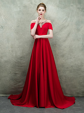 cheap Prom Dresses-A-Line Elegant & Luxurious Formal Evening Dress Boat Neck Short Sleeve Sweep / Brush Train Polyester with Sash / Ribbon Beading 2020