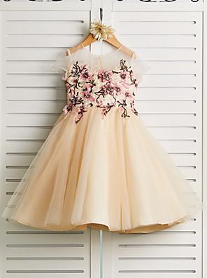 povoljno Haljine za djevojčice-Princeza Do koljena Vjenčanje / Kamado roštilj / Inscenacija Cvjetne haljine za djevojčice - Saten / Til Naramenice Ovalni izrez s Vez