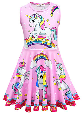 cheap Girls' Dresses-Kids Toddler Girls' Active Street chic Unicorn Cartoon Sleeveless Above Knee Dress Blue