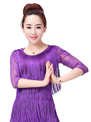 cheap Prom Dresses-Latin Dance Top Lace Tassel Split Joint Women's Training Performance 3/4 Length Sleeve Lace Milk Fiber Polyester