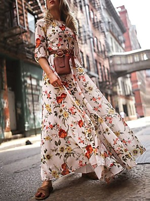 cheap Women's Dresses-Women's Floral Long Maxi White Dress With Sleeve 2020 Ruffle Casual Spring Holiday Vacation Swing Flower Lantern Sleeve Flared Print S M