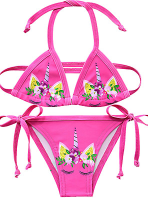 cheap Girls' Dresses-Kids Girls' Active Unicorn Print Sleeveless Swimwear Blushing Pink