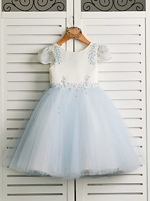 cheap Flower Girl Dresses-Princess Tea Length Wedding / Birthday / Pageant Flower Girl Dresses - Satin / Tulle Cap Sleeve Jewel Neck with Beading