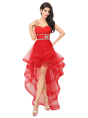 cheap Prom Dresses-A-Line Sparkle Red Party Wear Prom Dress Sweetheart Neckline Sleeveless Asymmetrical Tulle with Crystals Tier 2020