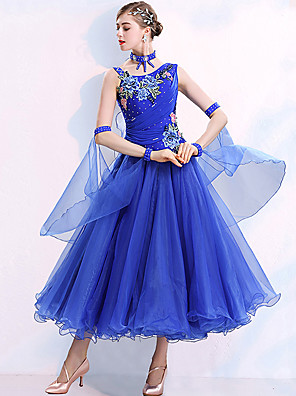 cheap Prom Dresses-Ballroom Dance Dress Embroidery Appliques Crystals / Rhinestones Women's Training Performance Sleeveless Natural Polyster Spandex