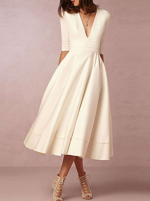 cheap Cocktail Dresses-A-Line Wedding Dresses V Neck Tea Length Chiffon Half Sleeve Casual Vintage Little White Dress 1950s with 2020